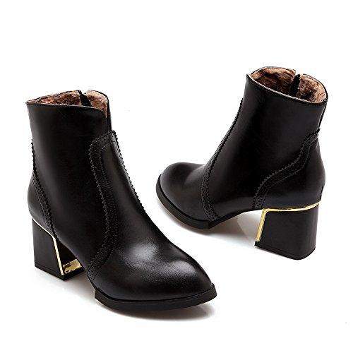Lace Heel BalaMasa Ornament Zipper Leather Imitated Boots Womens Black Electroplate q11I6w