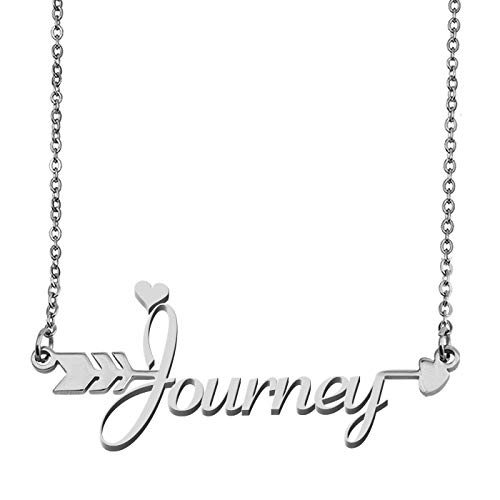 - Aoloshow Customized Custom Name Necklace Personalized - Custom Journey Initial Name Handwriting Nameplate Necklace Arrow Pendant Gift for Womens Girls
