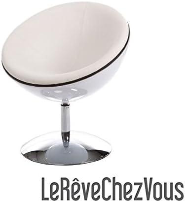 Fauteuil Boule Design Coque Blanche Laqué Sphere Simili Cuir