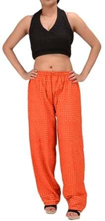 Women New Harem Pant Pajama Cotton Hand Block Print Gypsy Boho (Orange)