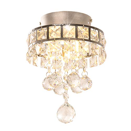 Surpars House Mini Style 3-Light Chrome Finish Crystal Chandelier Pendent Light for Hallway,Bedroom,Kitchen,Kids Room,3x1W Bulb Included ()