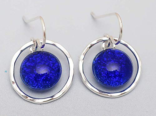 Sterling silver hammered hoops fused translucent bright cobalt blue dichroic glass earrings (Jewelry Glass Dichroic Fused)