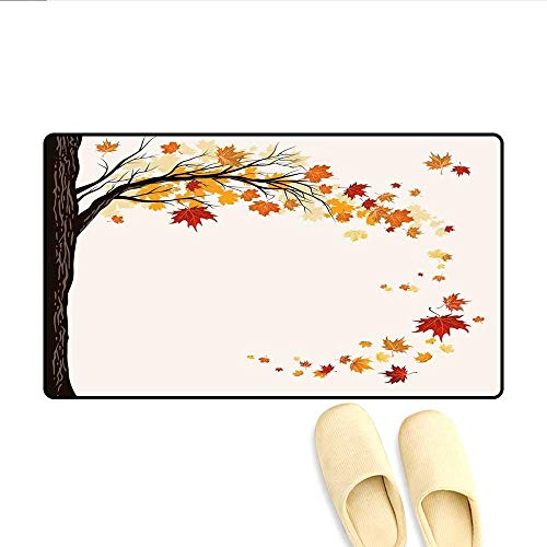Door-mat Leaf Group Motion in Mother Earth Transition from Summer to Winter Season Theme Bathroom Mat for Tub Non Slip Brown Orange 16