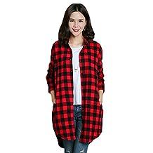 Benibos Womens Long Flannel Plaid Shirts