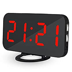 OXOQO LED Digital Alarm Clock - USB Powered, No Frills Simple Operation, Large Night Light, Alarm, Snooze, Full Range Brightness Dimmer, Black Background, Big Digit Display Screen