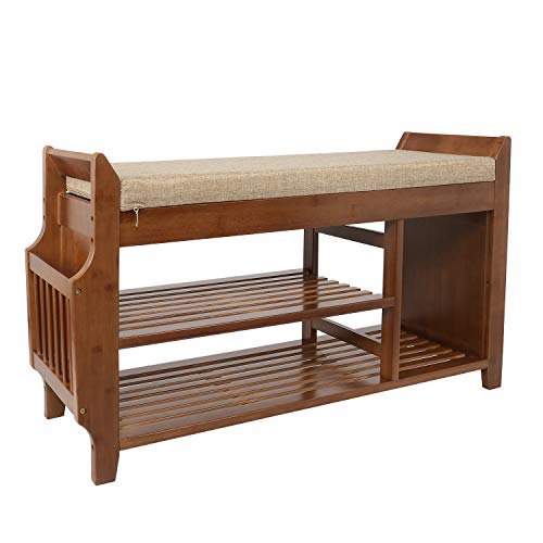 YUSING Bamboo Shoe Rack Bench W/Removable Cushion/Hidden Drawer/Umbrella Stand, 2 Tier Vintage Style Entryway Shoe Storage Organizer Shelf for Bedroom, Living Room, Bathroom (38.7 x 11.6 x 19.5 Inch) (Bench Cushion With Bathroom Storage)