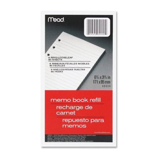 12 Pack 6-Ring Memo Book Refill, College Rule, 6HP, 6-3/4 x 3-3/4, 80 Sheets, White by MEAD