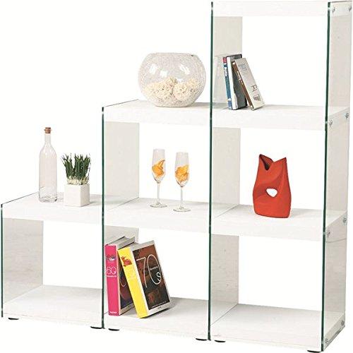 ボックスラック/ステアラック 3段 強化ガラス 幅123cm×高さ121cm HAB-702WH ホワイト (白) B01H9RNWBK