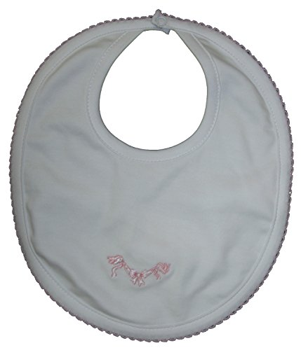 Kissy Kissy Baby-Girls Infant Rockabye Buggy Reversible Bib-White With Pink-One Size (Reversible Shortall)