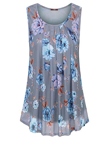 Gaharu Sleeveless Tank Tunic, Woman Layered Fitted Summer Work Tops for Leggings Floral Mesh Layered Comfortable Scoop Neck Pleats Blouses Tunic Gray Blue,XX-Large