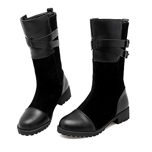 Allhqfashion Women's Solid Low-Heels Round Closed Toe Blend Materials Pull-On Boots Black 4bJG5UW