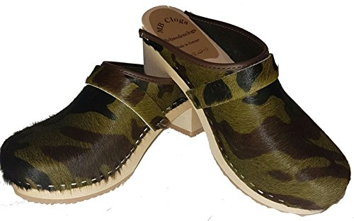 Original Camouflage Holzclogs Schwedenclogs Optik Damenclogs in Fell r7prxqw