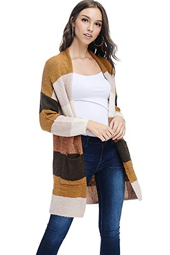 Yellow Stripe Sweater - AD Womens Casual Open Knit Stripe Cardigan Sweater W/Pockets (Mustard, Small/Medium)