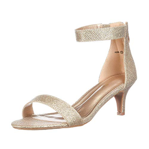 DREAM PAIRS Women's Fiona Gold Glitter Fashion Stilettos Open Toe Pump Heeled Sandals Size 8.5 B(M) US