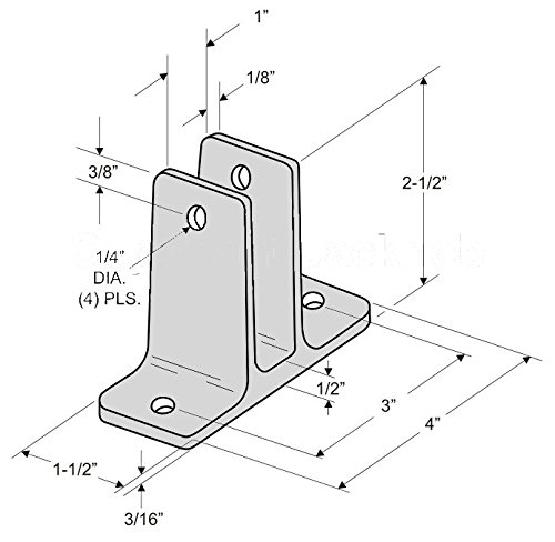 Chrome Plated Zamac Two Ear Panel Bracket Pak for 1'' Restroom Partition Panels