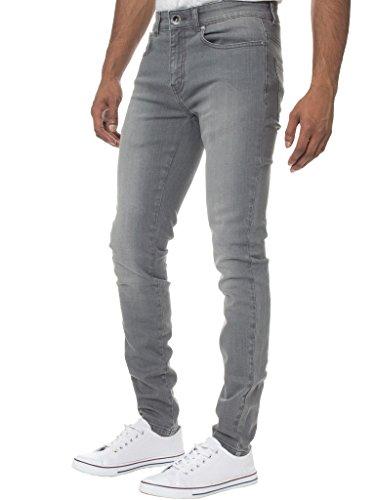 KRUZE Herren Designer Freizeit Markiert Jeans Dehnbar Super Enge Jeans Hose - Herren, grau, 40W x 32L