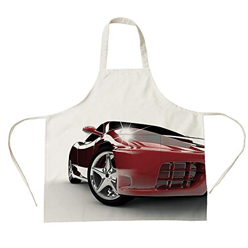 (3D Printed Cotton Linen Big Pocket Apron,Teen Room,Modern Automotive Vivid Toned Car Back View Prestige Passion Artistic Image Decorative,Black and Ruby,for Cooking Baking Gardening)