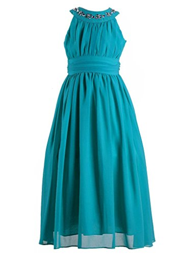 Happy Rose Chiffon Long Junior Bridesmaid Dress Peacock Blue 12