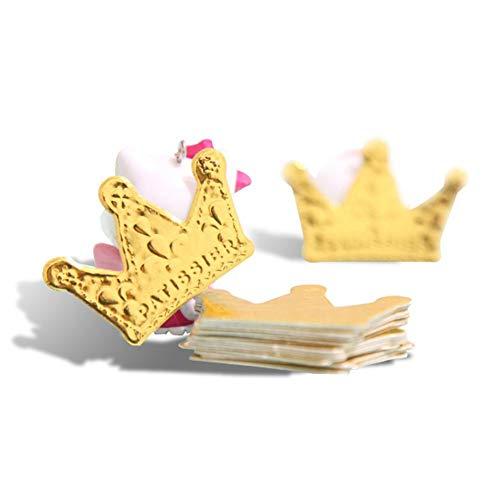 120 Pcs Gold Glitter Crown Card Cake Cupcake