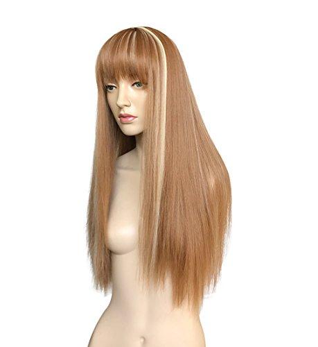 Namecute Long Straight Wigs Blonde Highlight Brown Full Hair Bang Wigs for Women + Free Wig Cap