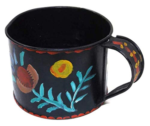 Vintage Hand Tole Painted Tin Coffee Mug Cup with Flower Design