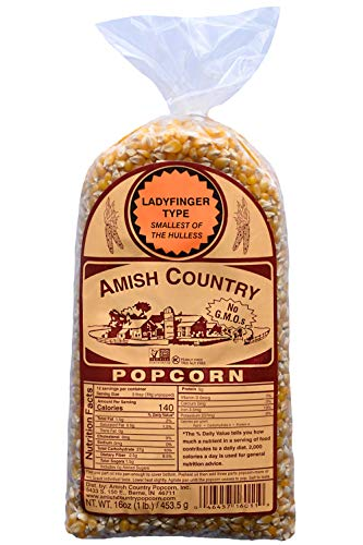 Amish Country Popcorn - Ladyfinger Kernels (1 Pound Bag) - Old Fashioned, Non GMO, Gluten Free, Microwaveable, Stovetop and Air Popper Friendly With Recipe Guide