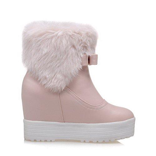 Allhqfashion Womens High Heels Solide Ronde Gesloten Teen Pull On Boots Roze