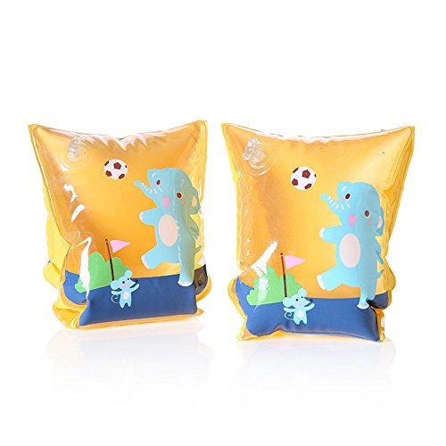 Inflatable Arm Bands Kids Toddlers Floatation Sleeves Floats Tube Water Wings Swimming Arm Floats for Kids Swimming Learner (Orange Elephant) - Elephants Arm