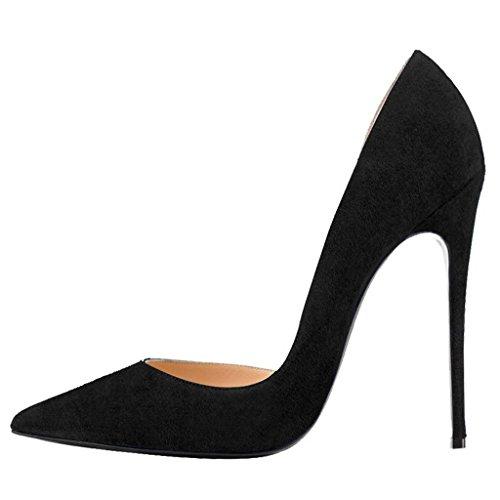 Calaier Femme Caprize Pointu Orteil 12cm Stiletto Slip-on Pumps Chaussures Noir