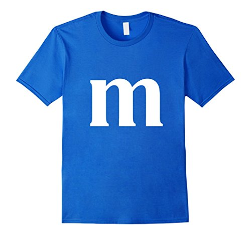 Mens M Letter Monogram Candy DIY Halloween Costume Shirt 5 COLORS Large Royal (Diy Mens Halloween Costumes)