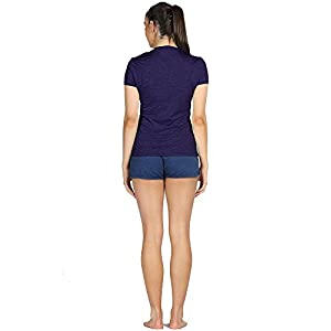 icyZone Women's Ultimate Short-Sleeve Workout Running Yoga Fitness Sports tshirts (M, Royal Blue/Purple/Charcoal)