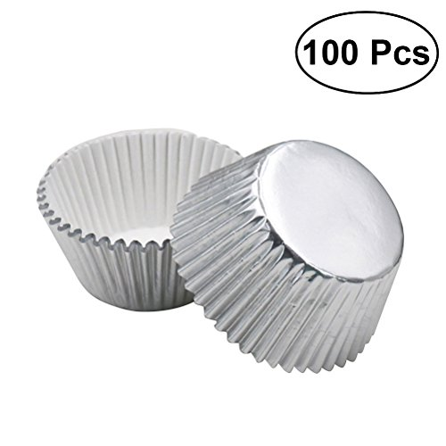 ULTNICE 100pcs Silver Foil Cupcake Liners Aluminum Thickened Baking Muffin Paper Cups Cases (Silver) ()