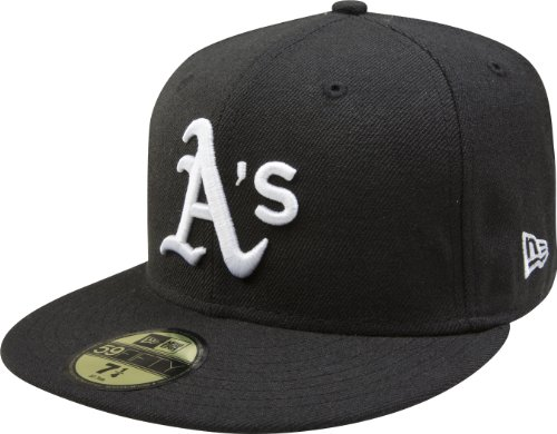 MLB Oakland Athletics Black with White 59FIFTY Fitted Cap, 7 5/8