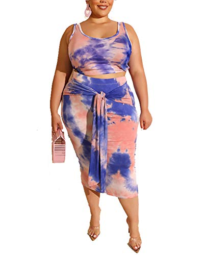 SHP Sexy Club Dresses for Women - Womens Sexy Bodycon Plus Size Midi Dresses Two Piece Outfits Tie Dye Print Summer Dress Sleeveless Tank Crop Top Skirts Set Blue