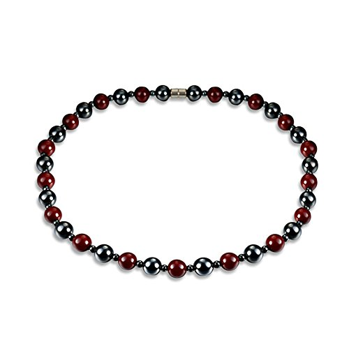 Fashion Magnetic Hematite Therapy Necklace for Men and Women, Black Red Bead Healing Necklace Gifts for Wedding Birthday Christmas Parents Back to School
