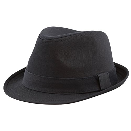 The Hat Depot Unisex Cotton Twill Herringbone Fedora Hat (L/XL, Black) -