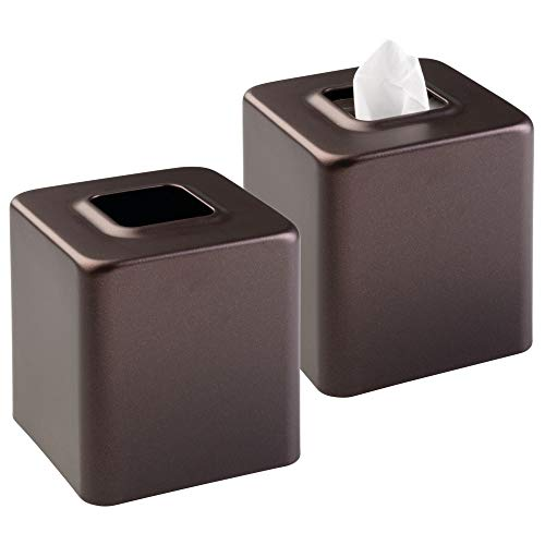 mDesign Modern Square Metal Paper Facial Tissue Box Cover Holder for Bathroom Vanity Countertops, Bedroom Dressers, Night Stands, Desks and Tables, 2 Pack - Bronze