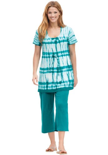 Plus Size Top And Capri Pant Set In Tie Dye Knit