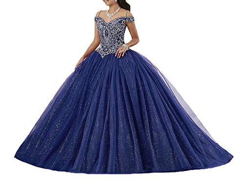 - Graceprom Women's Puffy Beaded Crystal Quinceanera Dresses Ball Gown Sweet 16 Dresses 16 Blue