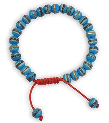 Tibetan Mala Embedded Medicine Wrist Mala for Meditation Handmade Draw String Silk Pouch (Sky Blue Medicine Bracelet) ()