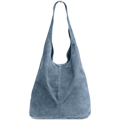 CASPAR Suede large Women TL767 Shopper TL767 Leather CASPAR Blue Jeans 6qU7OwnnH