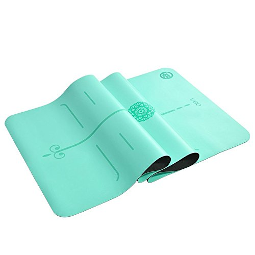 Ugo 5MM PU + Natural Rubber Yoga Fitness Exercise MAT with Body Lines and Free Carry Strap - Teal