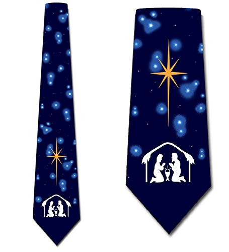 Religious Christmas Ties Nativity Neckties Men Manger by Three Rooker