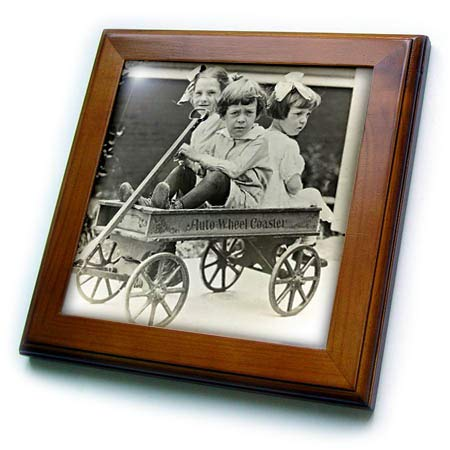 3dRose Scenes from The Past - Magic Lantern - Auto Wheel Coaster Wagon Taking Friends for A Ride Vintage - 8x8 Framed Tile (ft_301627_1)