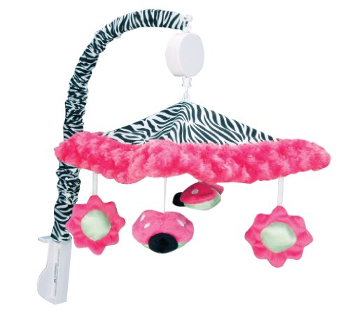 Musical Mobile Zebra Pink - Trend Lab Zahara, Ladybug  Musical Crib Mobile, Baby Mobile, Nursery