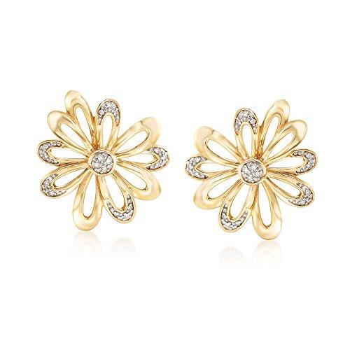 (Ross-Simons 0.10 ct. t.w. Diamond Open-Space Flower Earrings in 18kt Gold Over Sterling)