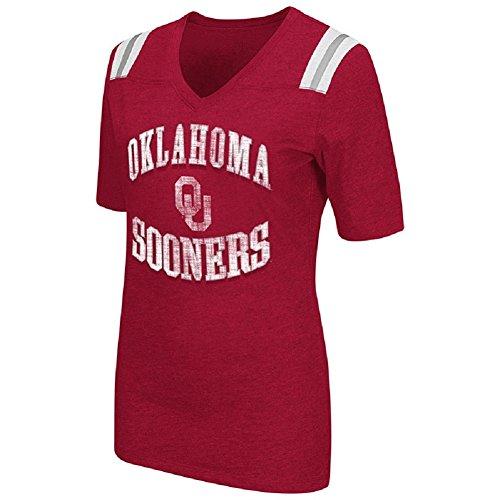 Colosseum Womens NCAA Artistic V-Neck T-Shirt-Oklahoma Sooners-Crimson-Large