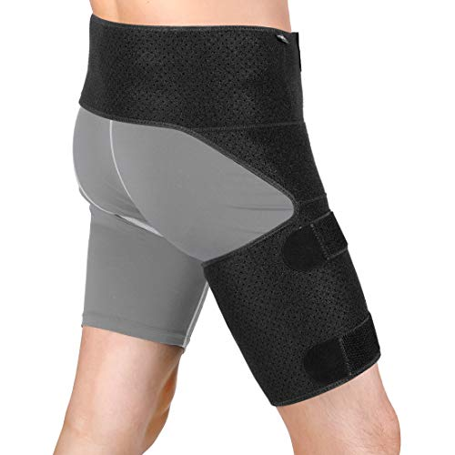 Hip Brace Adjustable Hip Support for Sciatic Nerve Pain Relief, Hip, Groin, Hamstring, Thigh, Pulled Muscles, Joints, Arthritis Compression Groin Sciatic Wrap Belt for Women and Men- Black