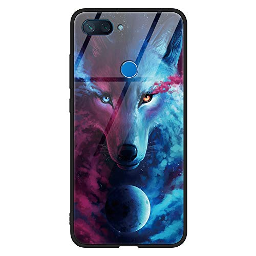 Eouine Xiaomi Mi 8 Lite Case, [Anti-Scratch] Shockproof Patterned Tempered Glass Back Cover Case with Soft Silicone Bumper for Xiaomi Mi 8 Lite Smartphone (Wolf)
