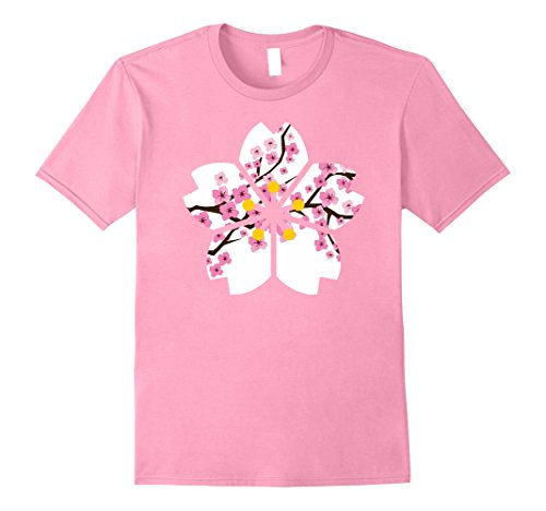 Mens Japanese cherry blossom flower T-shirt for men and women 2XL Pink